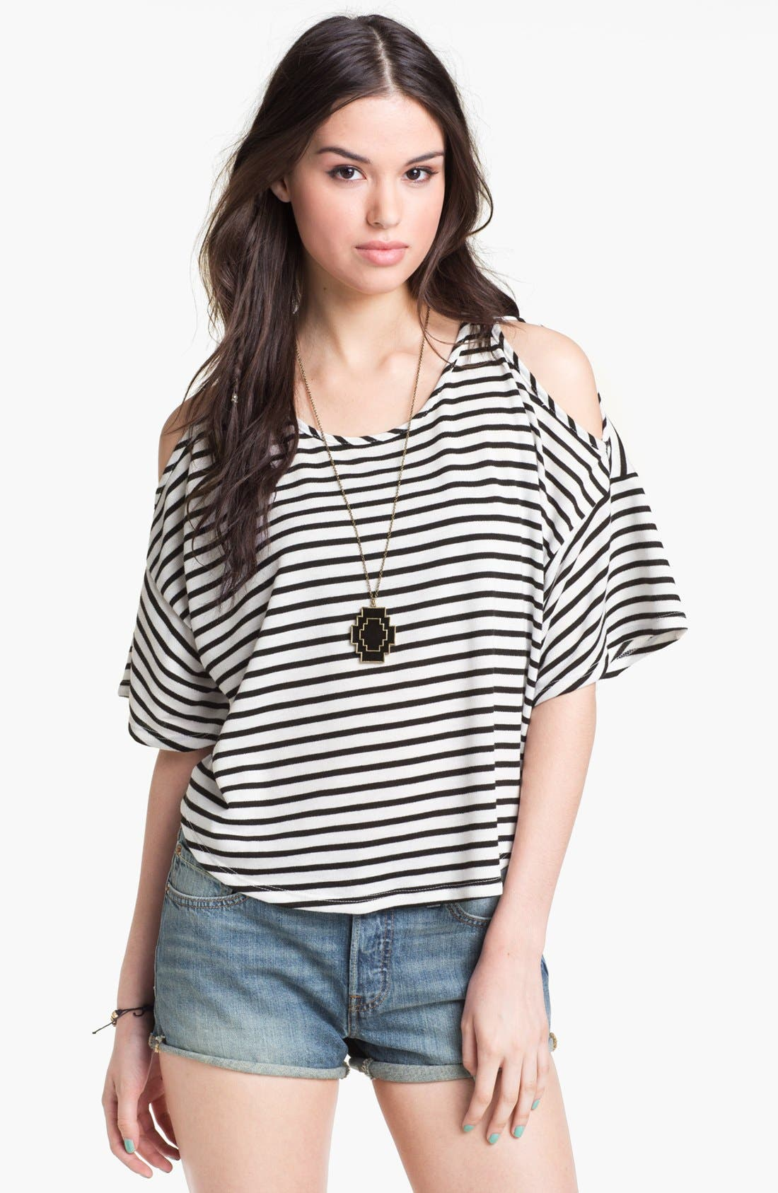 Main Image - Elodie Cutout Shoulder Sweatshirt (Juniors)
