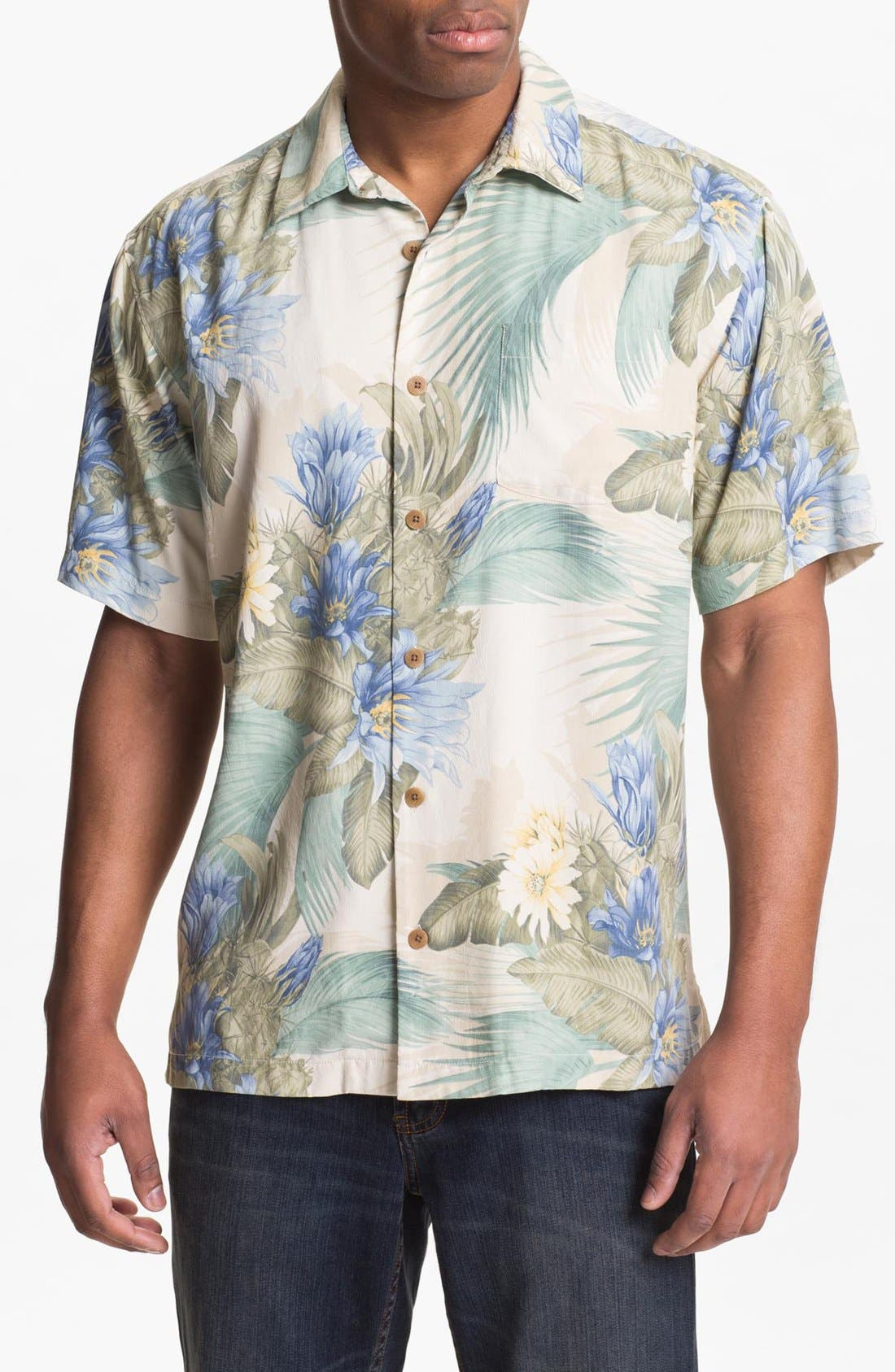 Main Image - Tommy Bahama 'Garden of Hope & Courage' Silk Campshirt (Big & Tall)