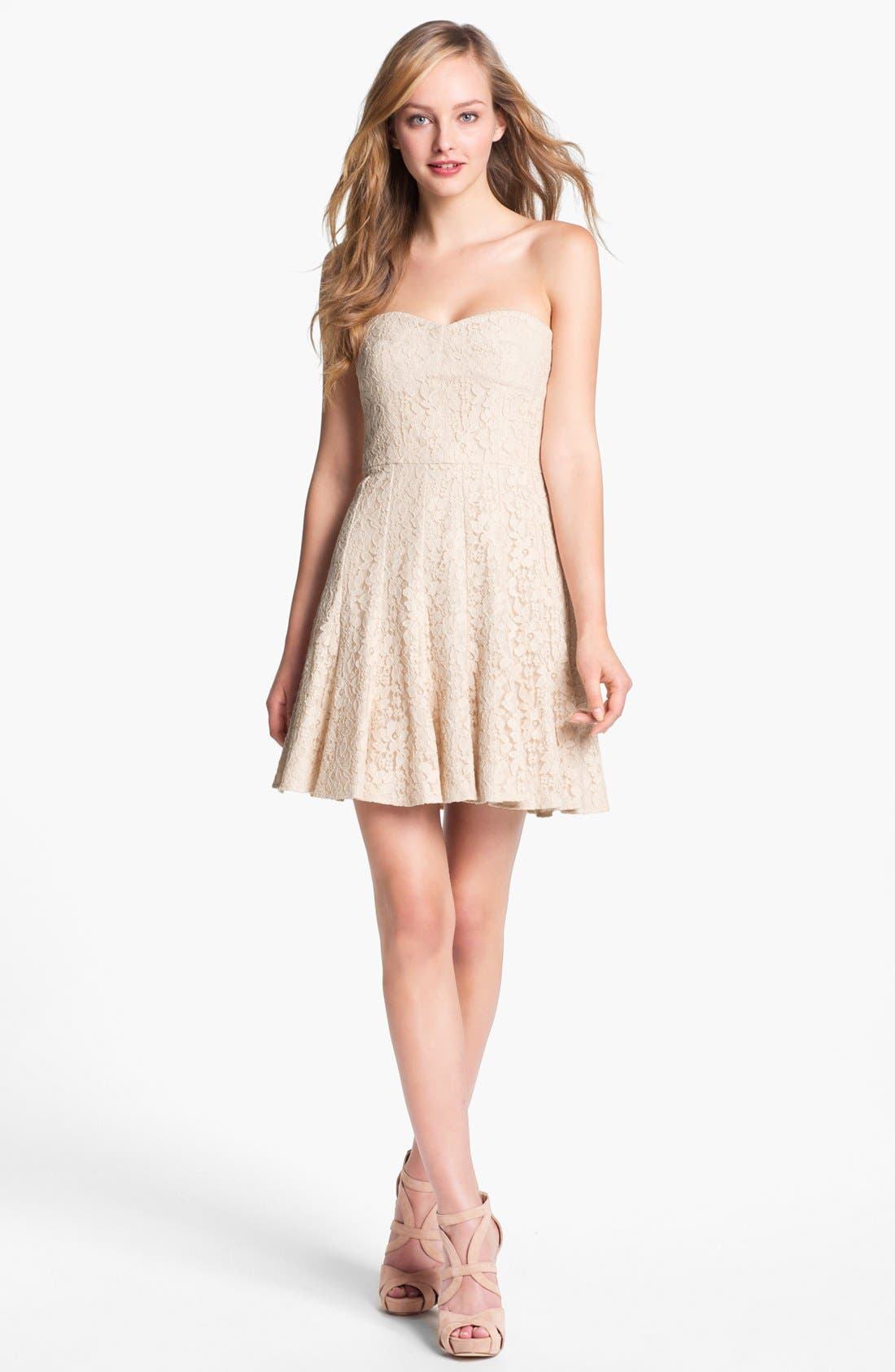 Alternate Image 1 Selected - BCBGMAXAZRIA Strapless Lace Fit & Flare Dress