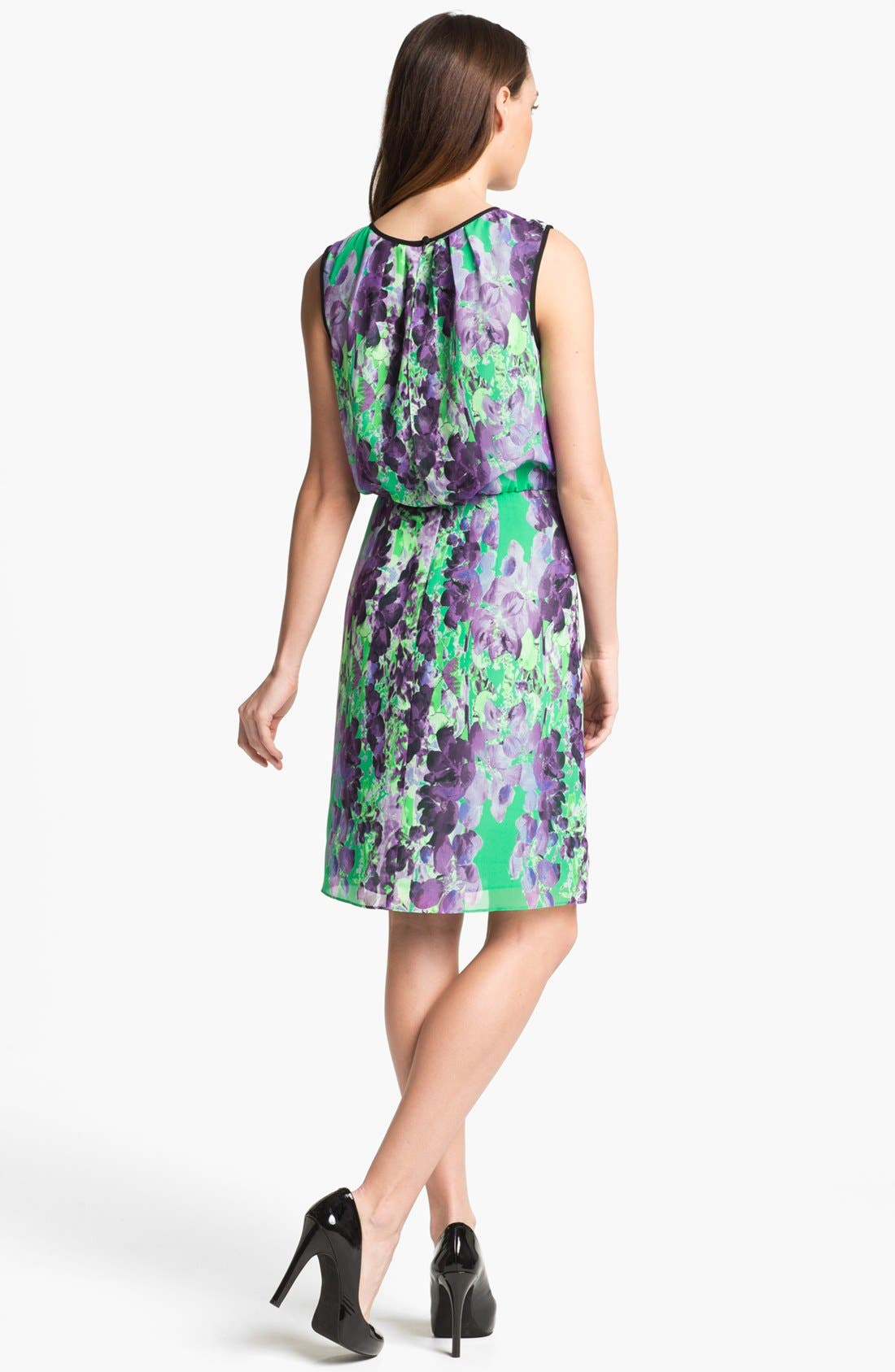 Alternate Image 2  - Adrianna Papell Floral Print Blouson Dress