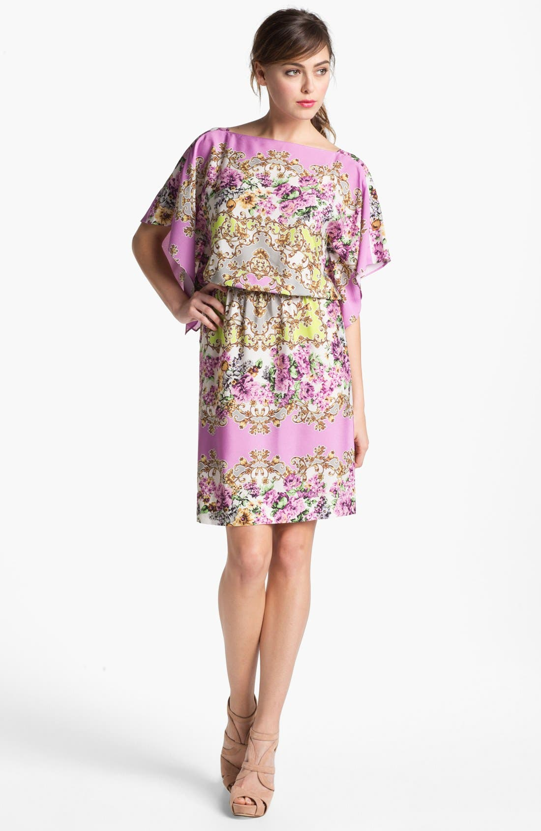 Alternate Image 1 Selected - Maggy London Floral Print Blouson Jersey Dress