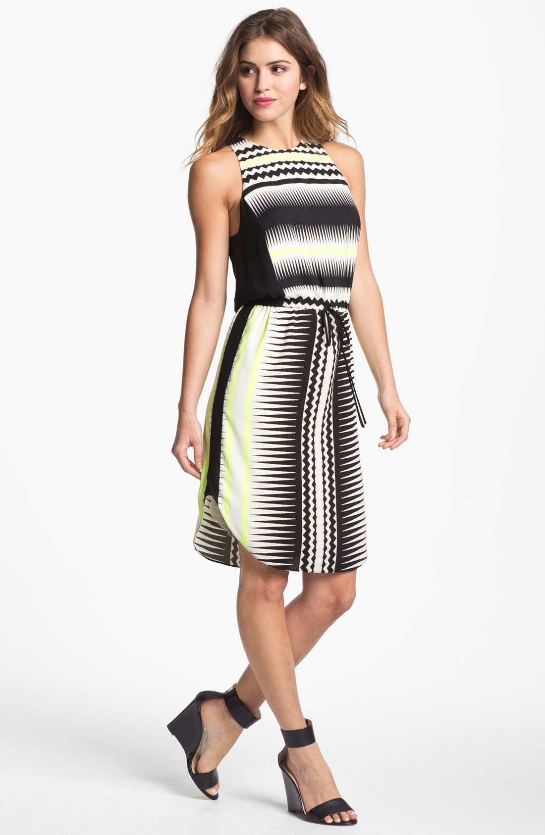 Alternate Image 1 Selected - Vince Camuto Belted Print Shift Dress