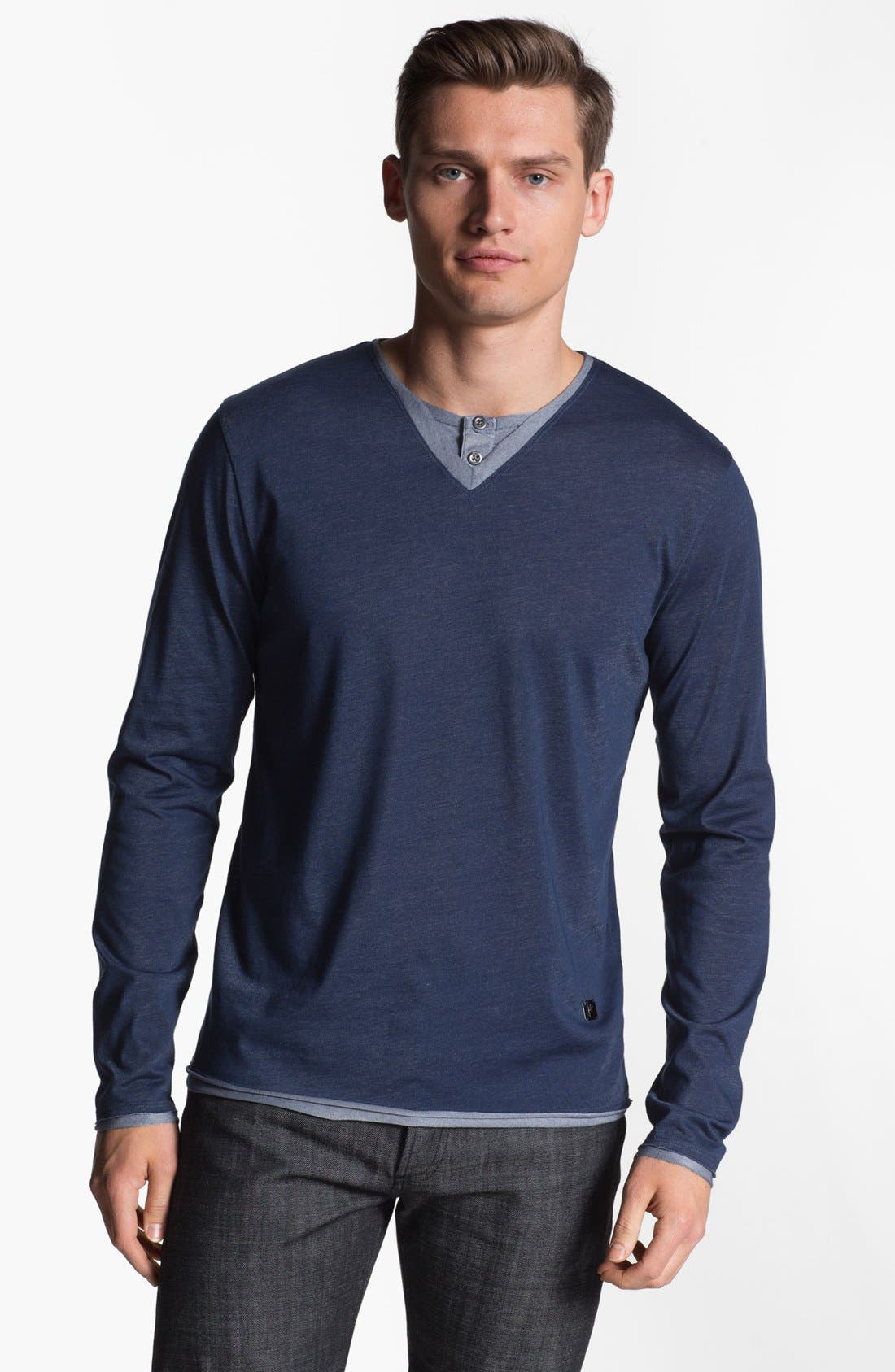 Alternate Image 1 Selected - Versace V-Neck Henley T-Shirt