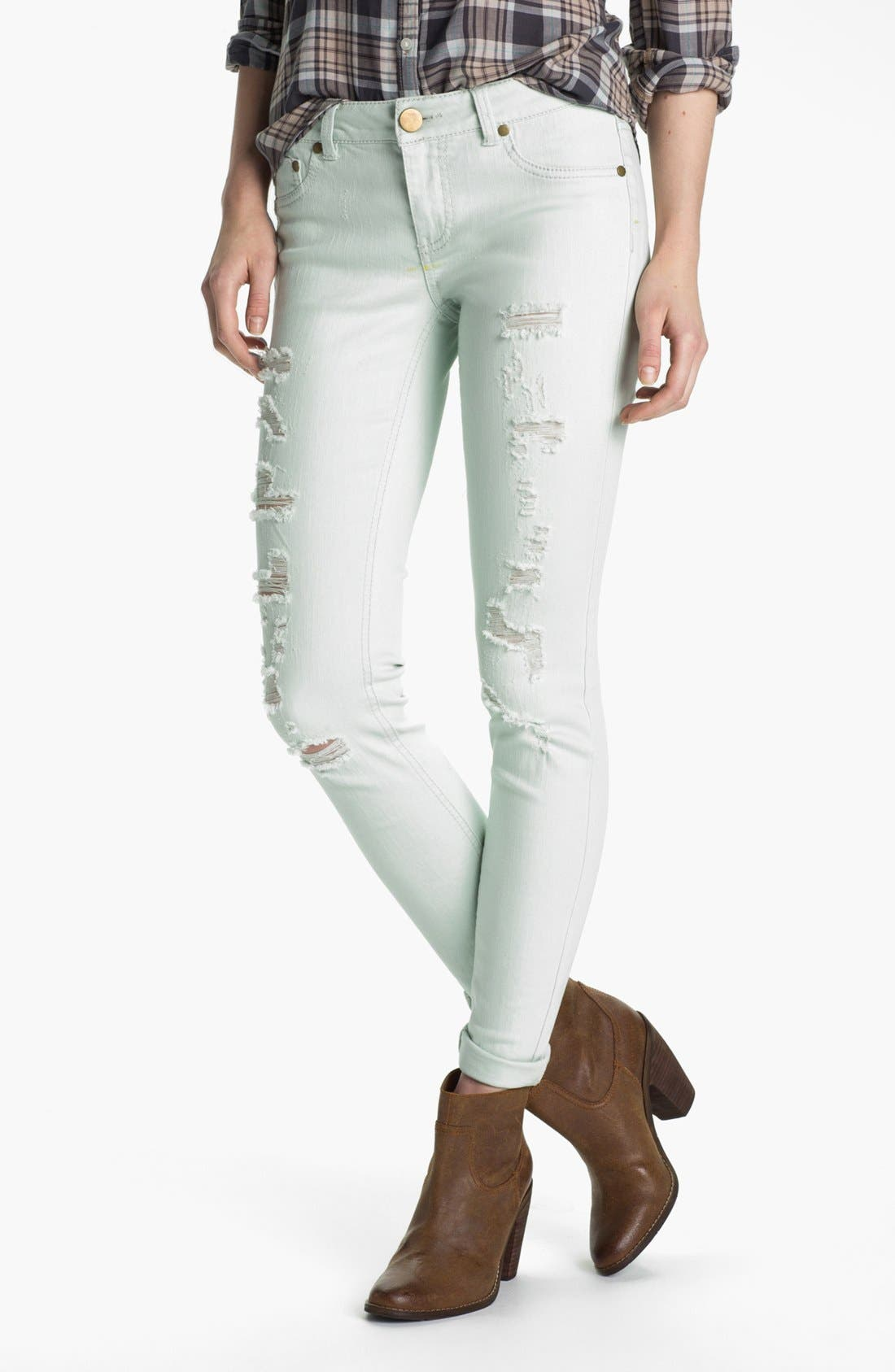 Alternate Image 1 Selected - Fire Destroyed Pastel Denim Skinny Jeans (Juniors) (Online Only)