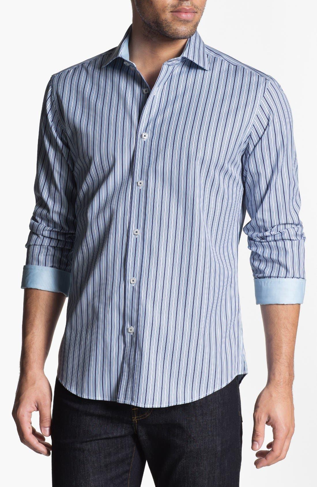 Main Image - Bugatchi Striped Shaped Fit Cotton Sport Shirt