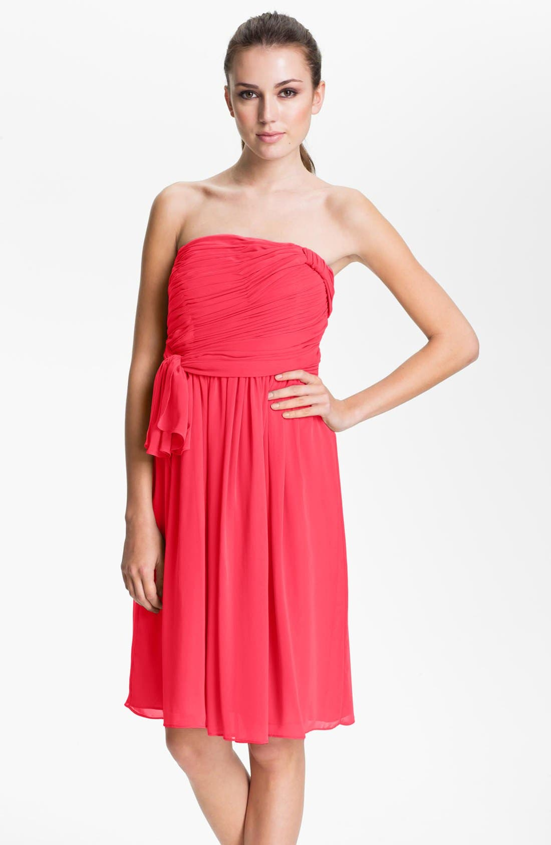 Alternate Image 1 Selected - Calvin Klein Strapless Ruched Chiffon Dress