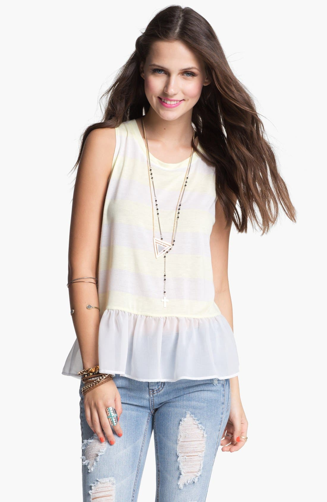 Alternate Image 1 Selected - Chloe K Chiffon Ruffle Tank (Juniors)