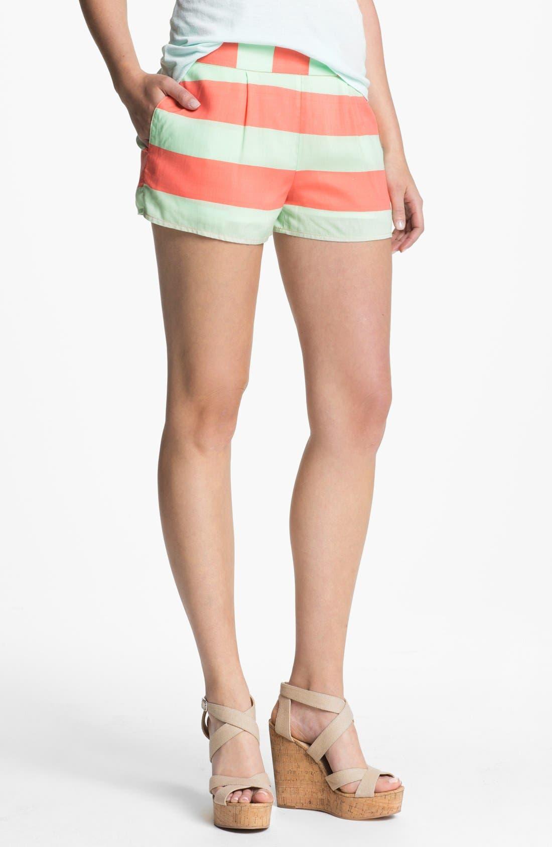 Main Image - Splendid Neon Stripe Smock Waist Shorts