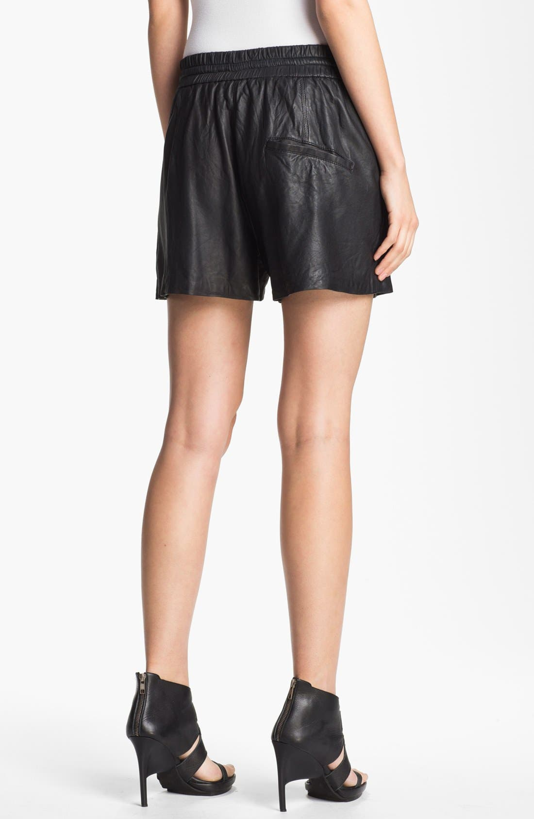 Alternate Image 2  - HELMUT Helmut Lang Washed Leather Shorts