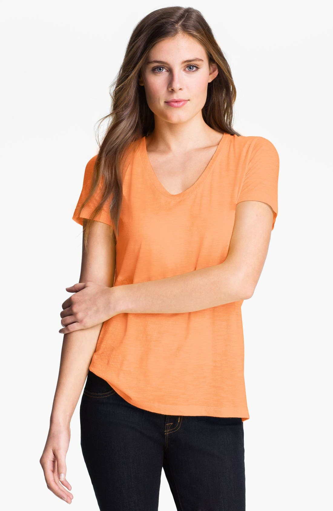 Main Image - Halogen® Relaxed Slub Knit U-Neck Tee (Regular & Petite)
