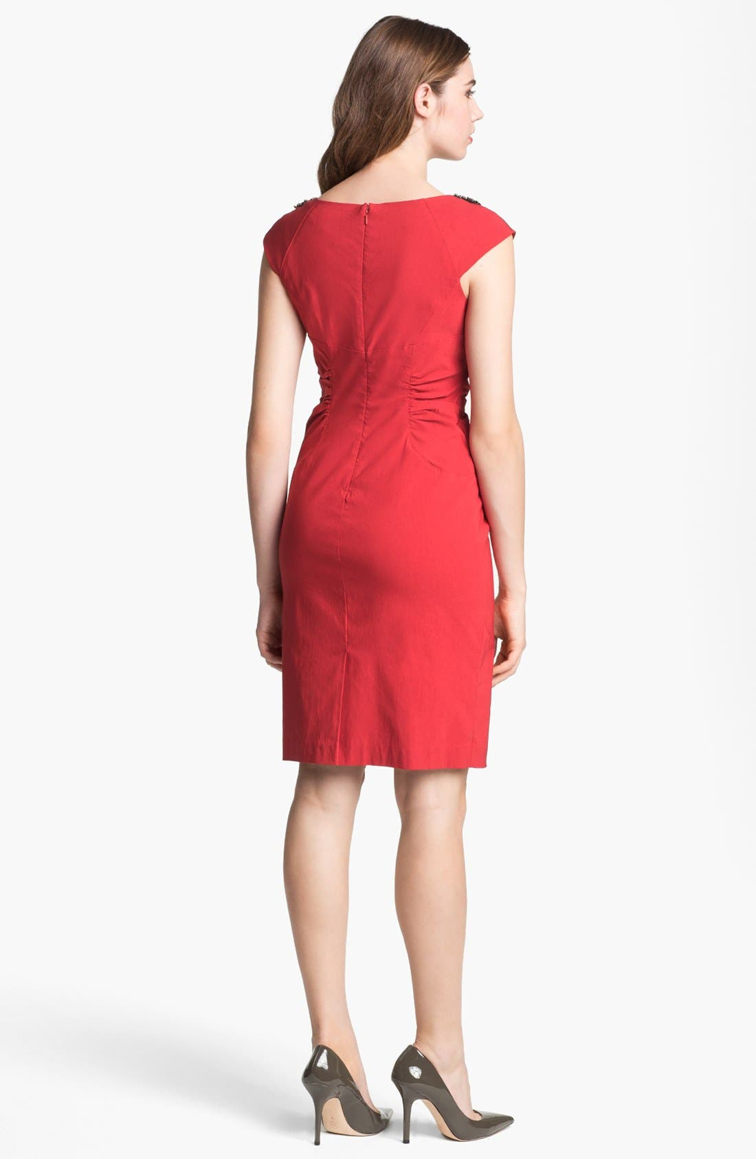 Alternate Image 2  - Adrianna Papell Beaded Neck Ruched Sheath Dress