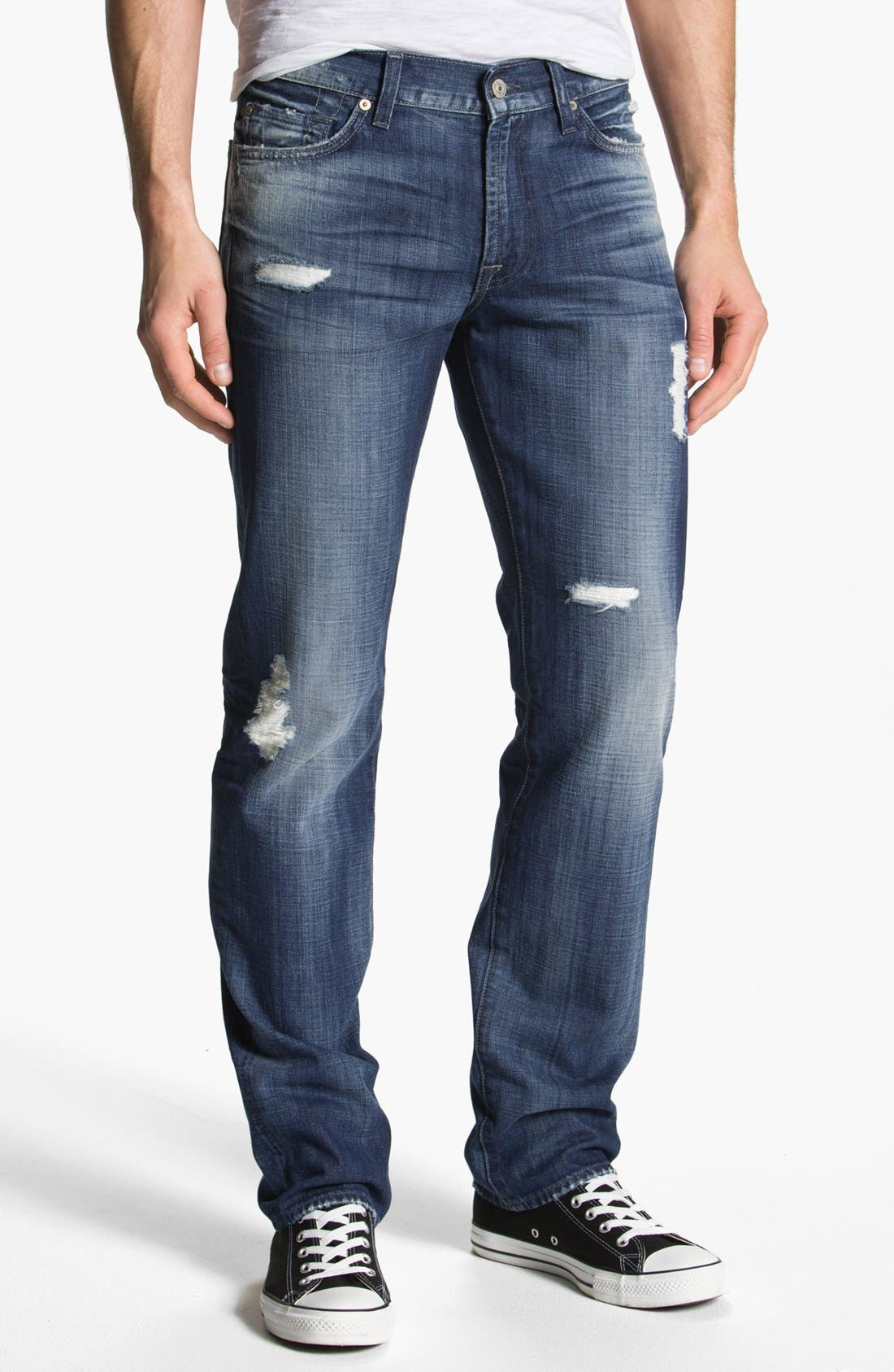 Alternate Image 2  - 7 For All Mankind® 'Slimmy' Slim Straight Leg Jeans (Mosby Creek Destroyed)