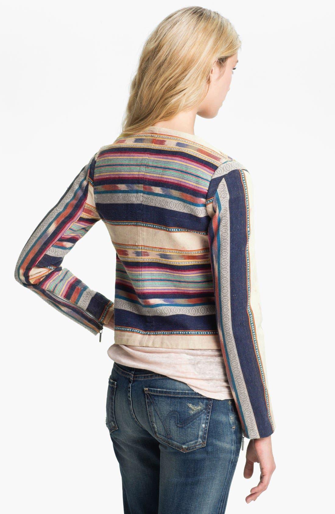 Alternate Image 2  - ELEVENPARIS 'Ekit' Blanket Stripe Biker Jacket