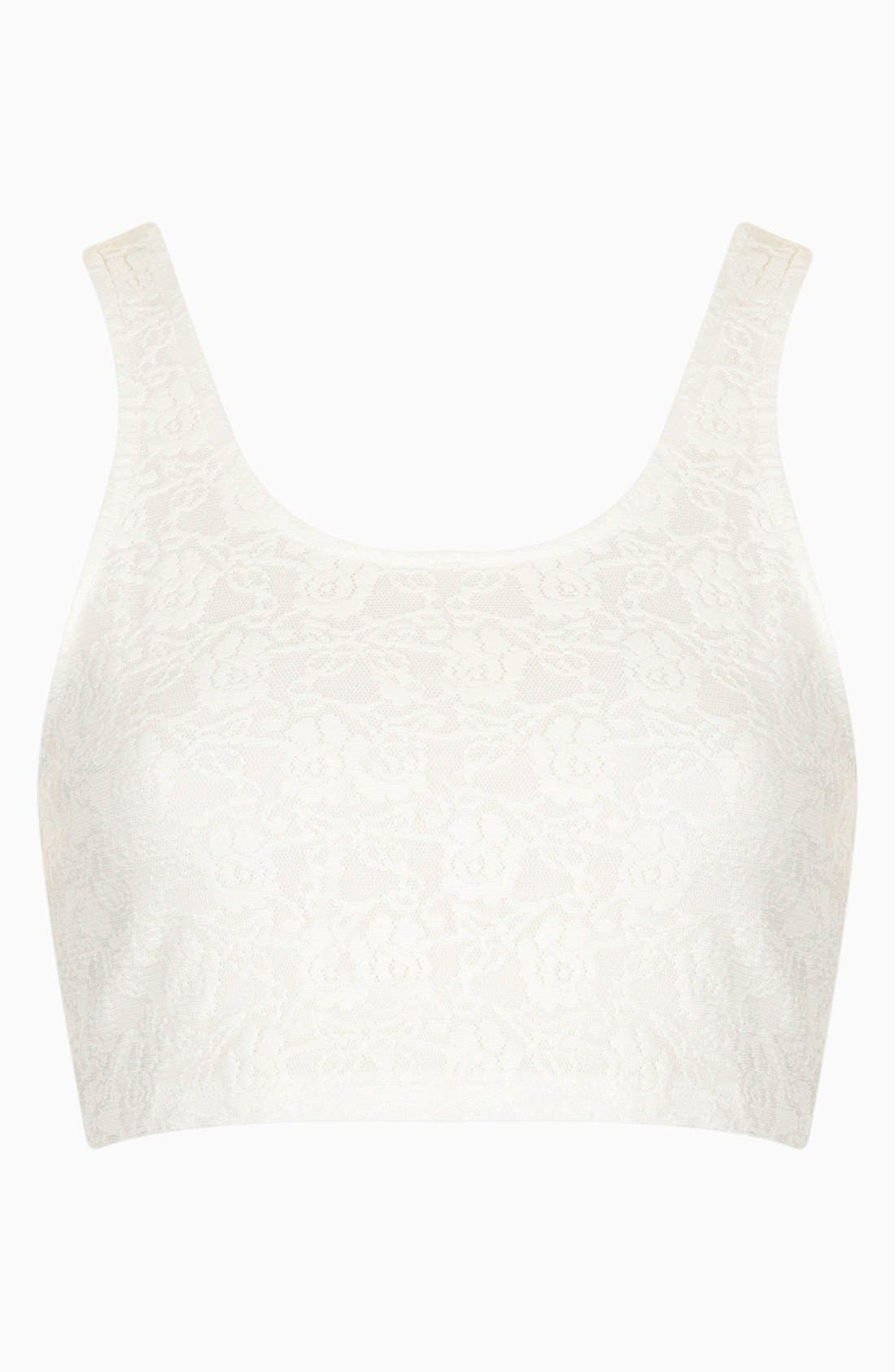 Alternate Image 2  - Topshop Lace Super Crop Tank