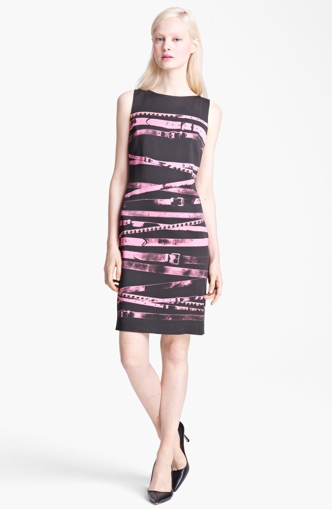 Main Image - Moschino Cheap & Chic Sleeveless Belt Print Dress