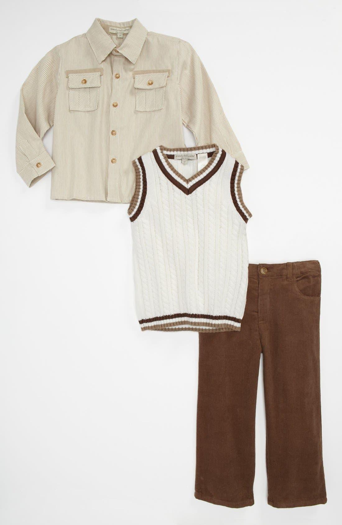 Main Image - Wendy Bellisimo Sweater Vest, Shirt & Pants (Toddler)