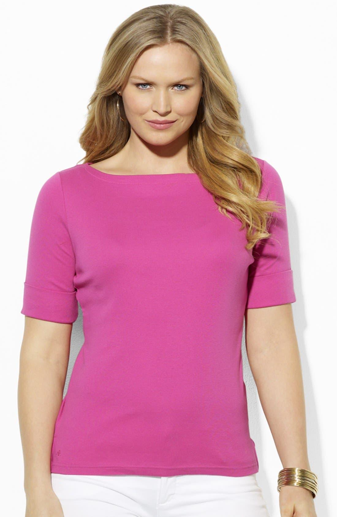 Alternate Image 1 Selected - Lauren Ralph Lauren Boatneck Top (Plus Size)