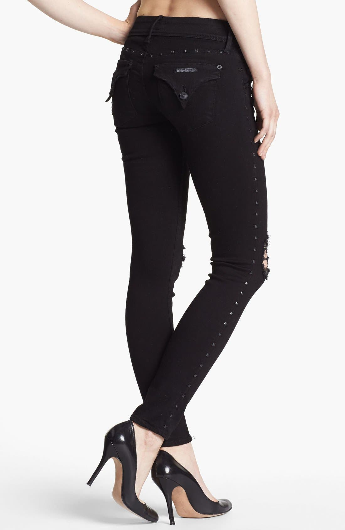 Alternate Image 2  - Hudson Jeans 'Collin' Studded Destroyed Skinny Jeans (Vintage Vienna)