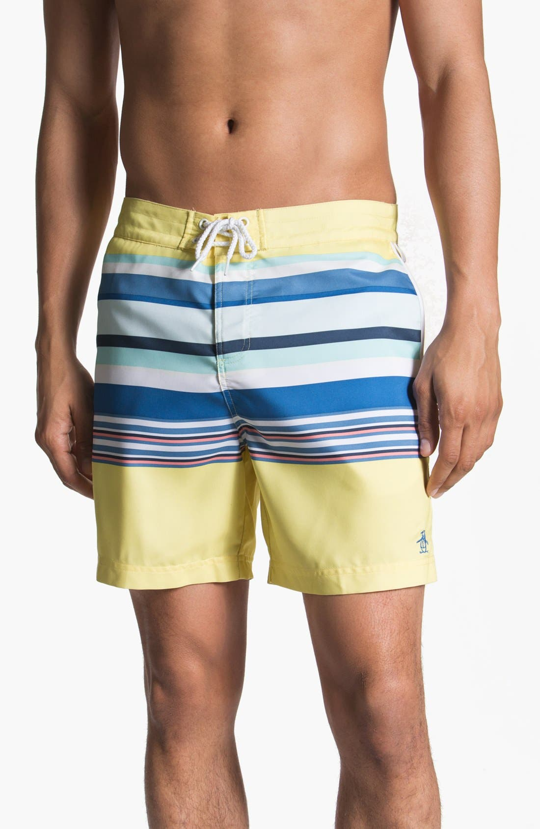 Main Image - Original Penguin Stripe Print Swim Shorts