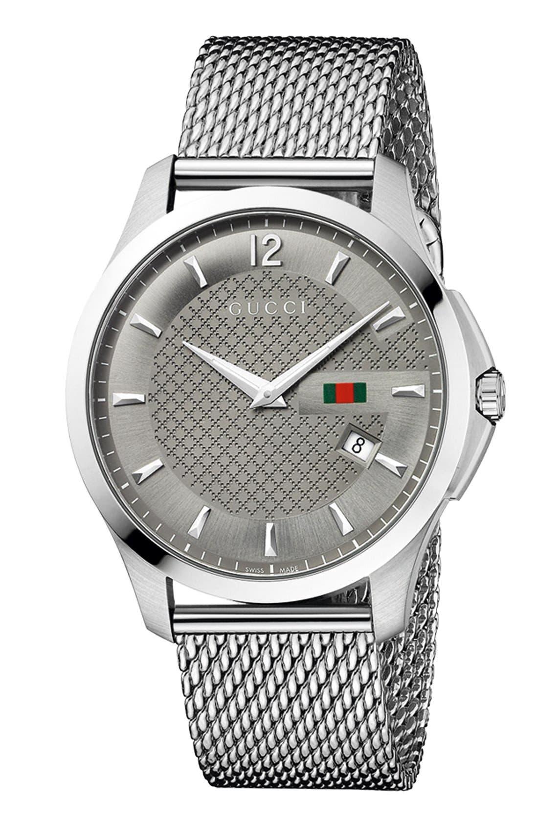 Alternate Image 1 Selected - Gucci 'G-Timeless' Mesh Bracelet Watch, 40mm