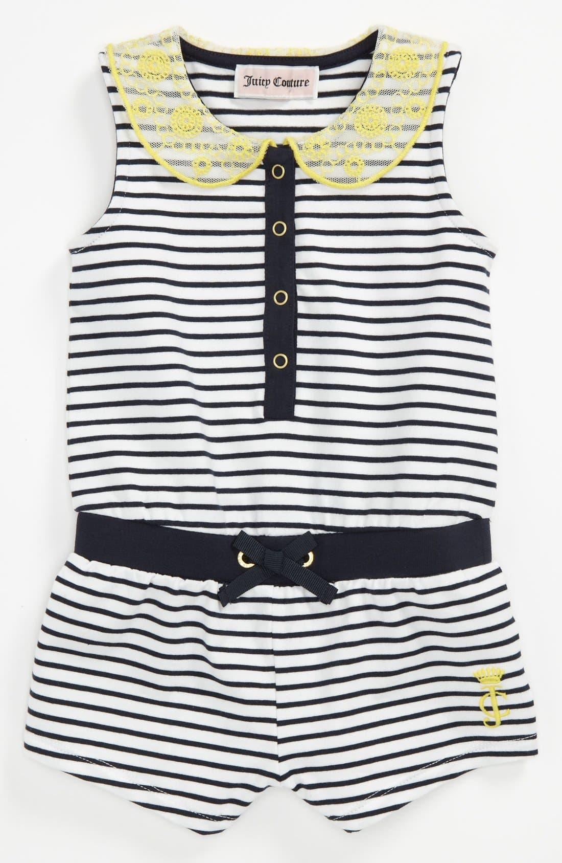 Main Image - Juicy Couture Stripe Coveralls (Baby)