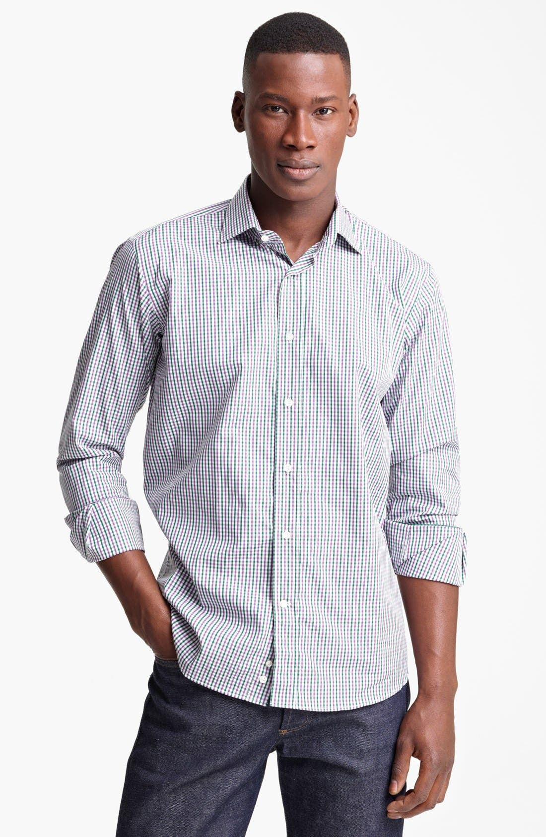 Alternate Image 1 Selected - Etro Check Print Cotton Sport Shirt