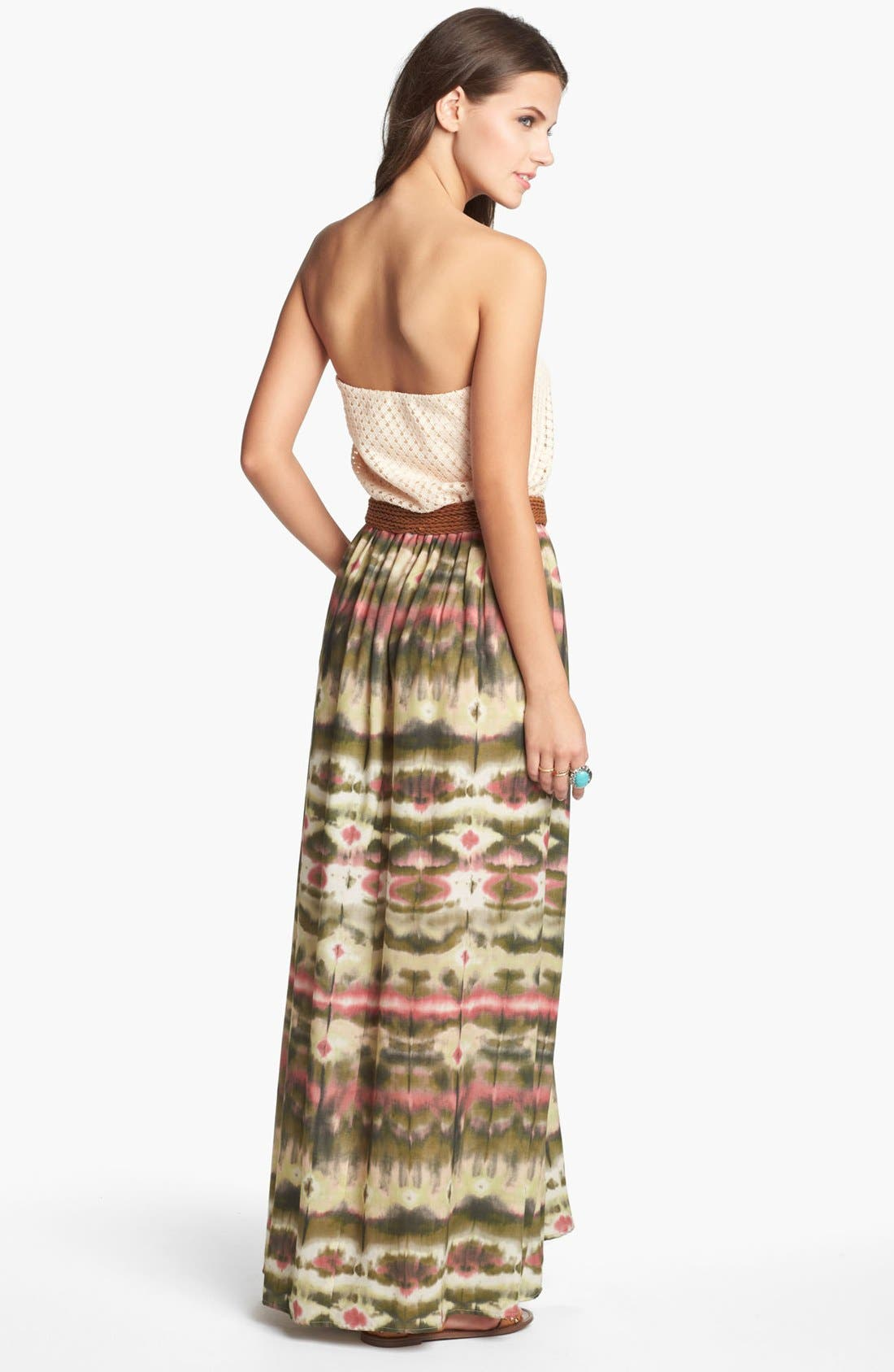 Alternate Image 2  - As U Wish Crochet Top Strapless Maxi Dress (Juniors) (Online Only)