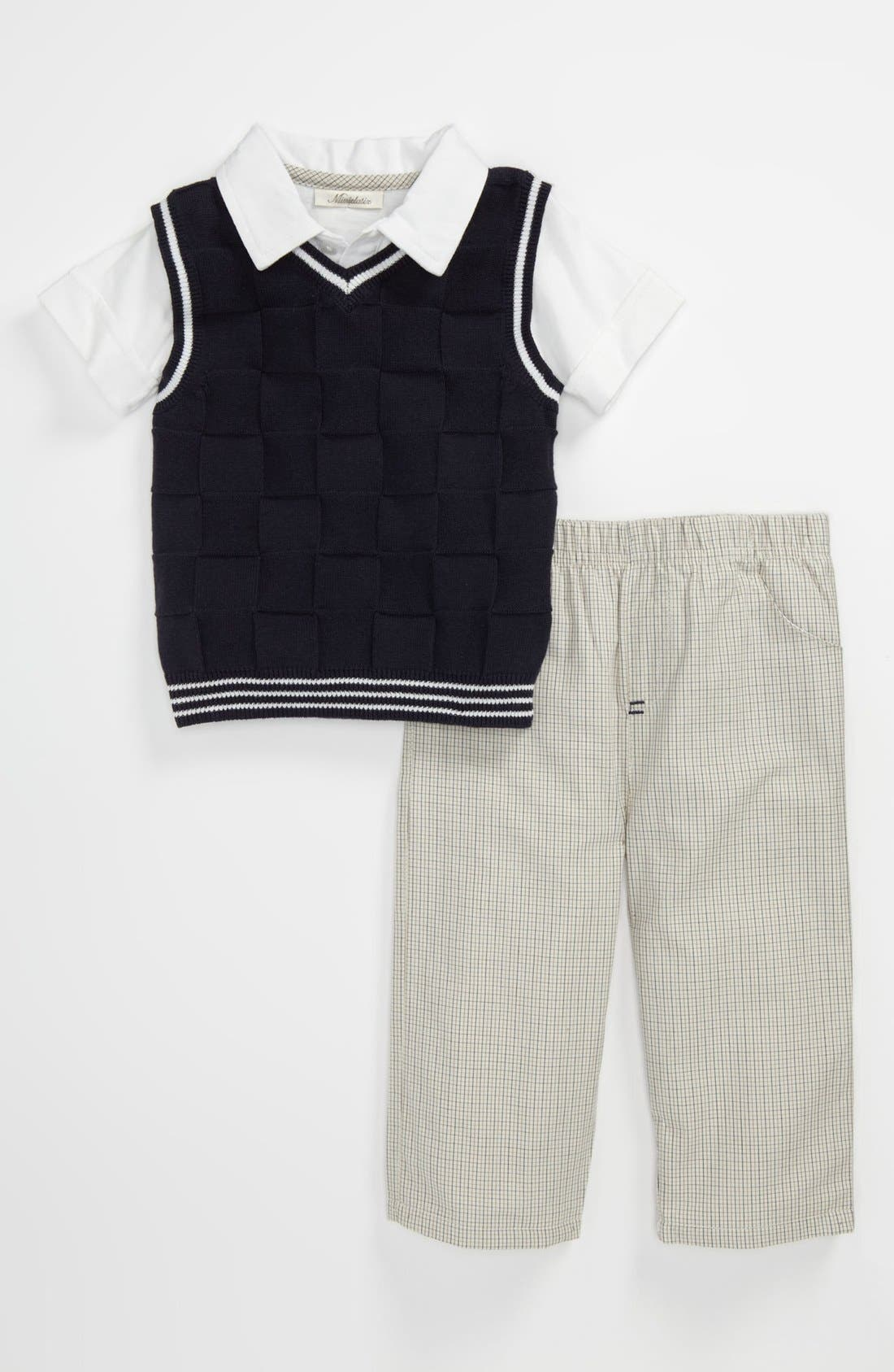 Main Image - Miniclasix Sweater Vest, Polo & Pants (Baby)