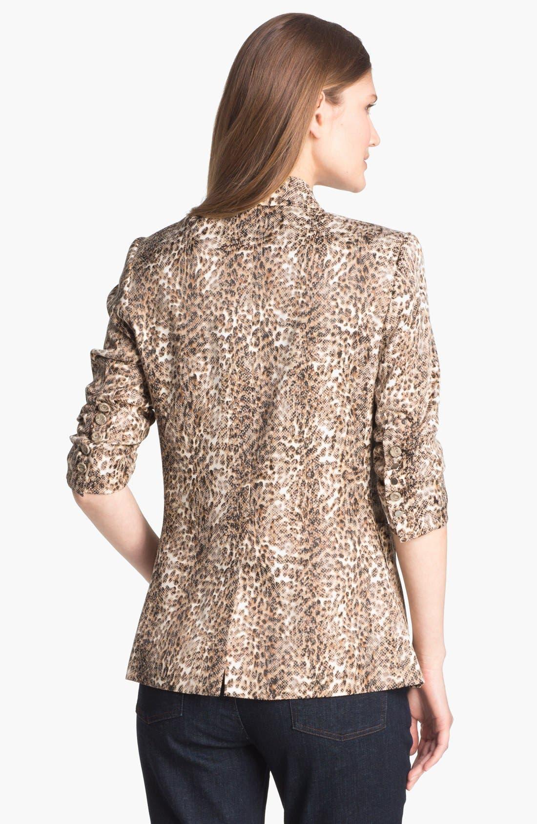 Alternate Image 2  - Alberto Makali Ruched Sleeve Cheetah Print Jacket
