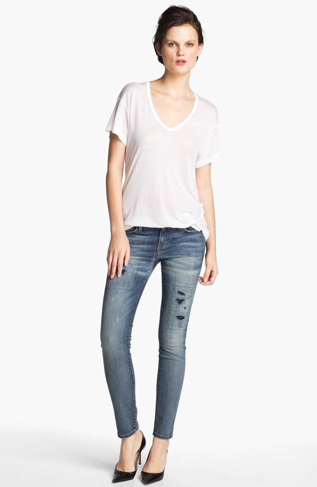 Alternate Image 3  - Current/Elliott 'The Ankle' Skinny Jeans (Pixie with Repair)