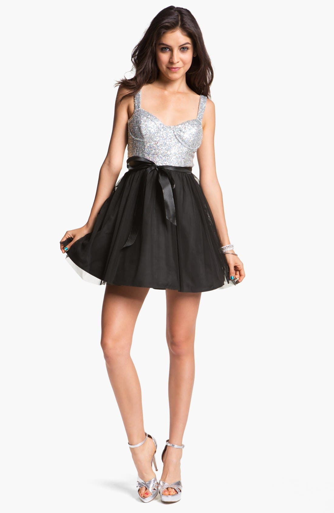 Main Image - As U Wish Sequin Bustier Skater Dress (Juniors)