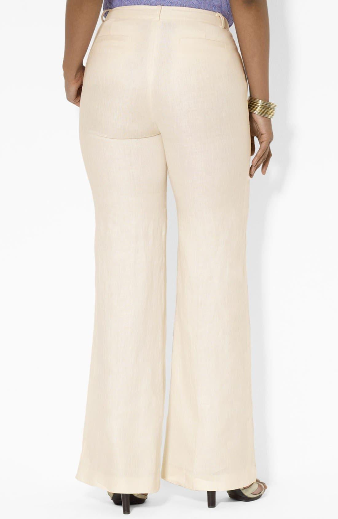 Alternate Image 2  - Lauren Ralph Lauren Wide Leg Linen Pants (Plus Size)
