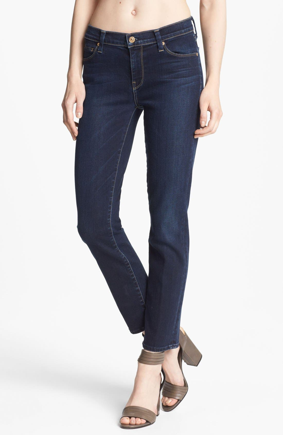 Alternate Image 1 Selected - 7 For All Mankind® Slim Straight Leg Jeans (Illusion Dark Rich Blue)