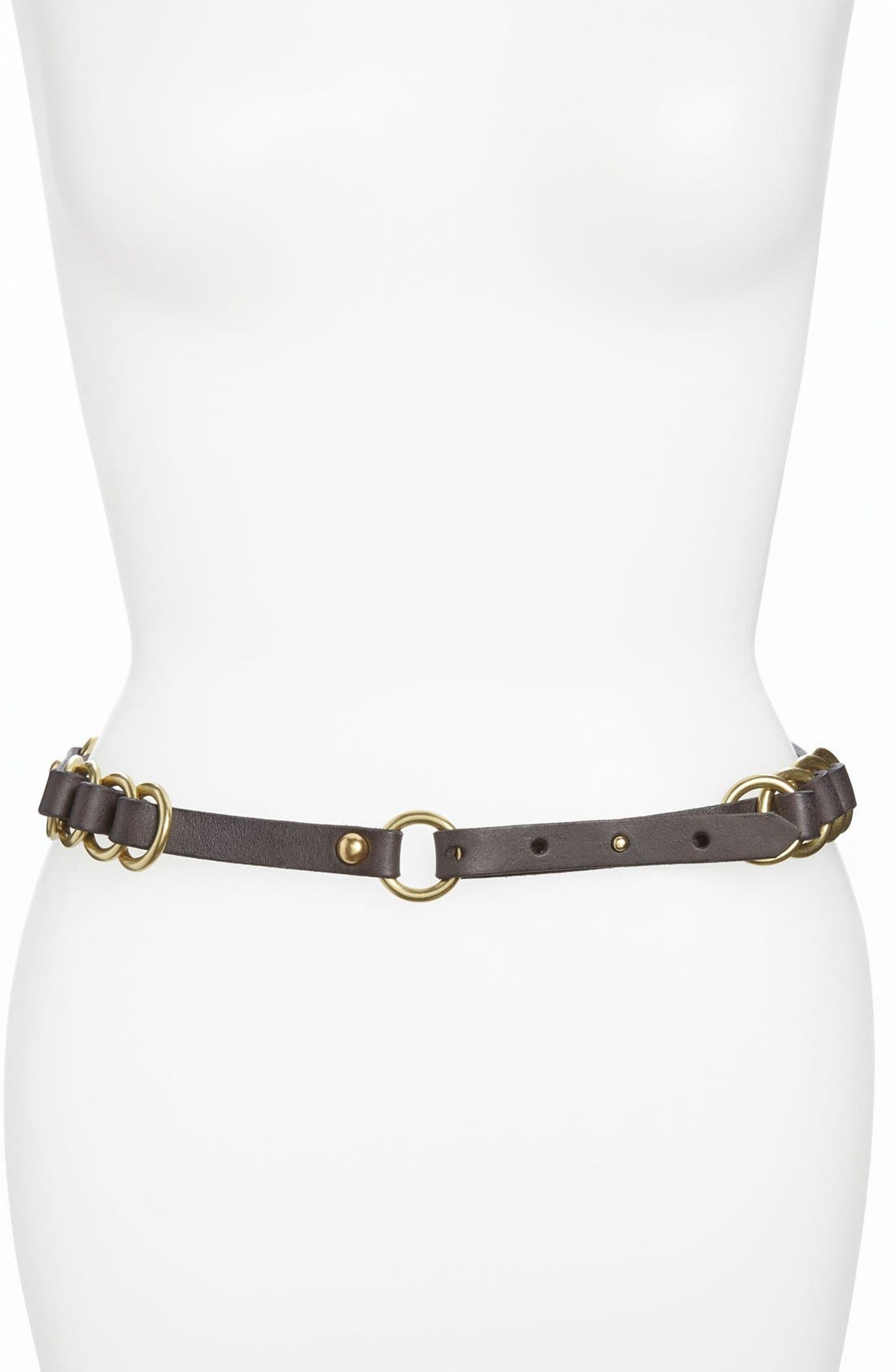 Alternate Image 1 Selected - Tarnish Leather Belt
