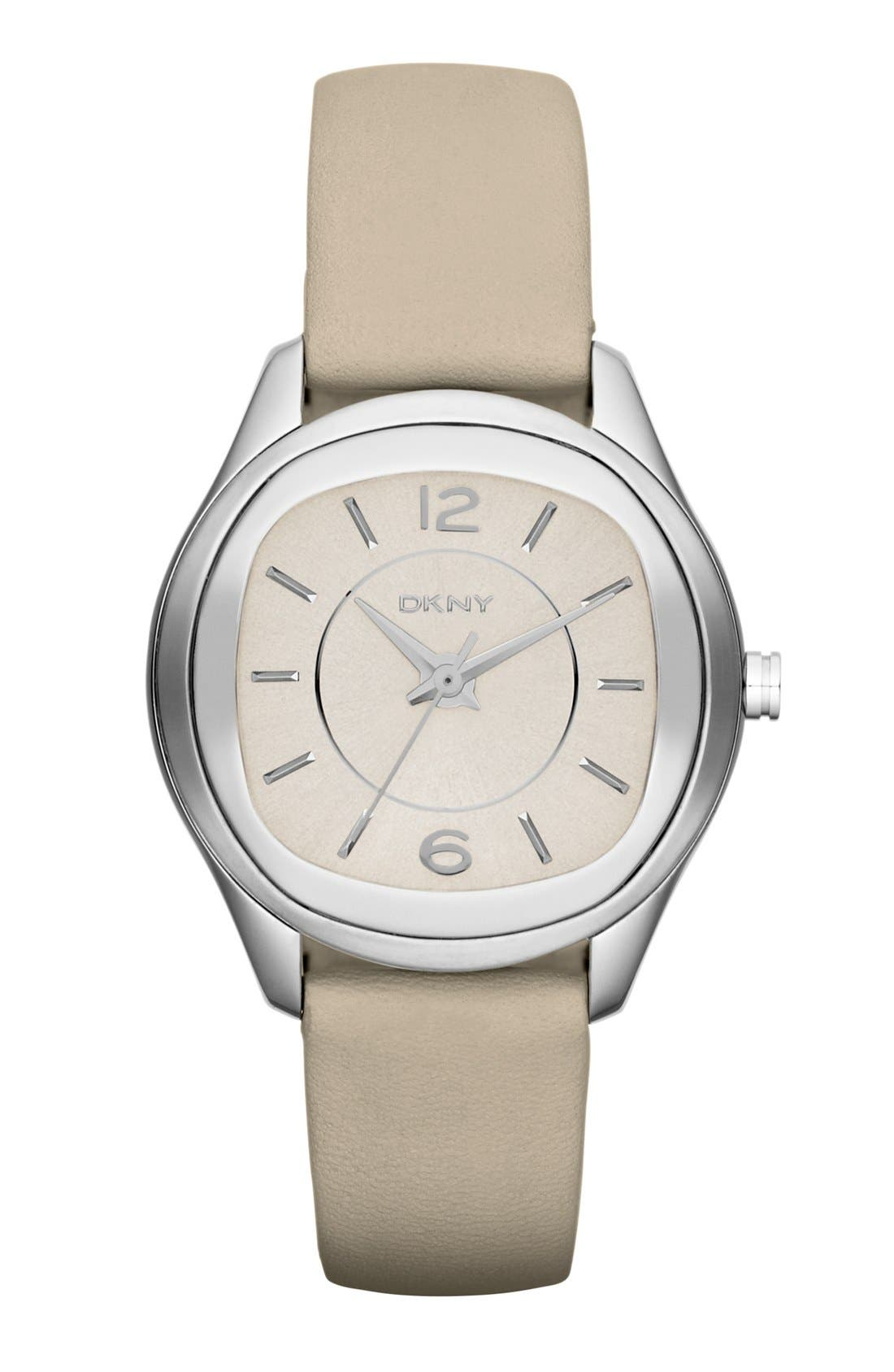 Main Image - DKNY Round Leather Strap Watch, 34mm