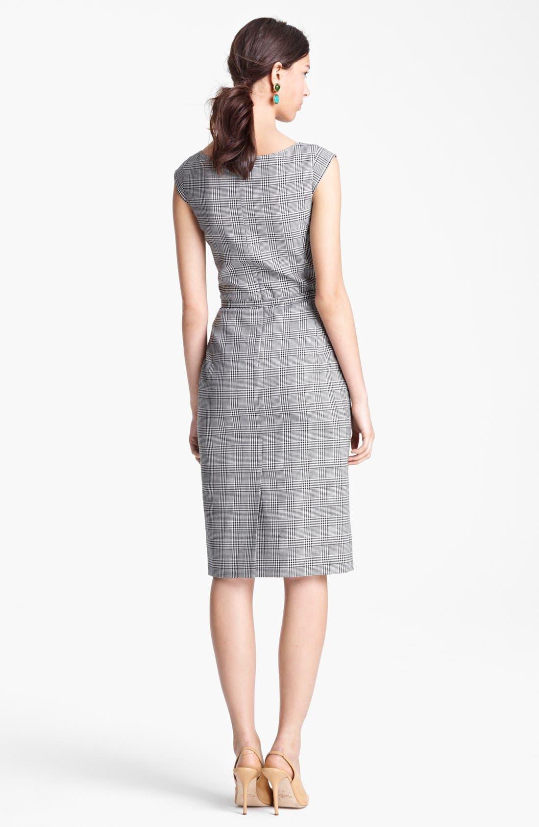 Alternate Image 2  - Oscar de la Renta Belted Glen Plaid Dress