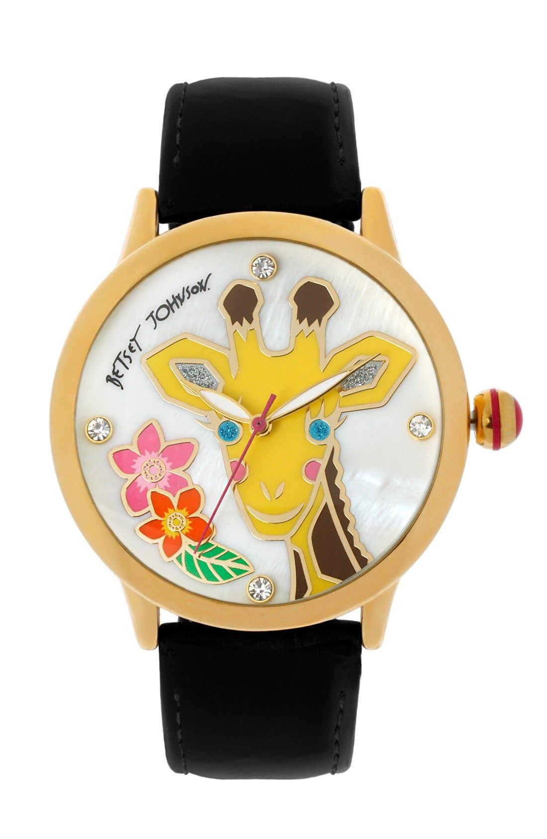 Main Image - Betsey Johnson Giraffe Dial Watch, 41mm