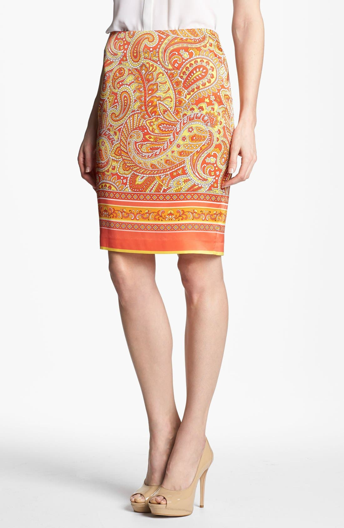 Alternate Image 1 Selected - Vince Camuto Bordered Paisley Skirt