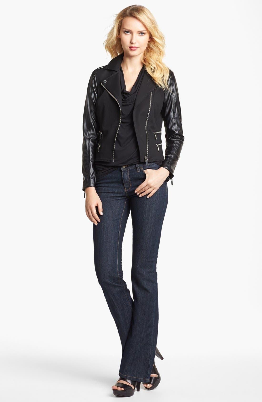 Alternate Image 3  - MICHAEL Michael Kors Knit & Faux Leather Moto Jacket