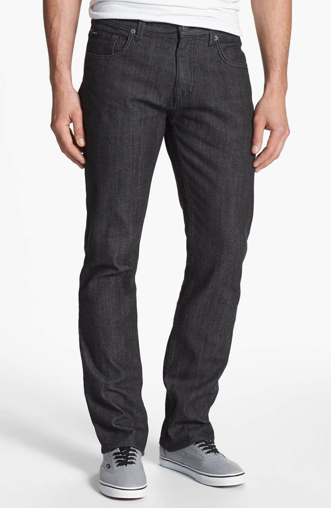 Alternate Image 2  - RVCA Slim Straight Leg Jeans (Black)