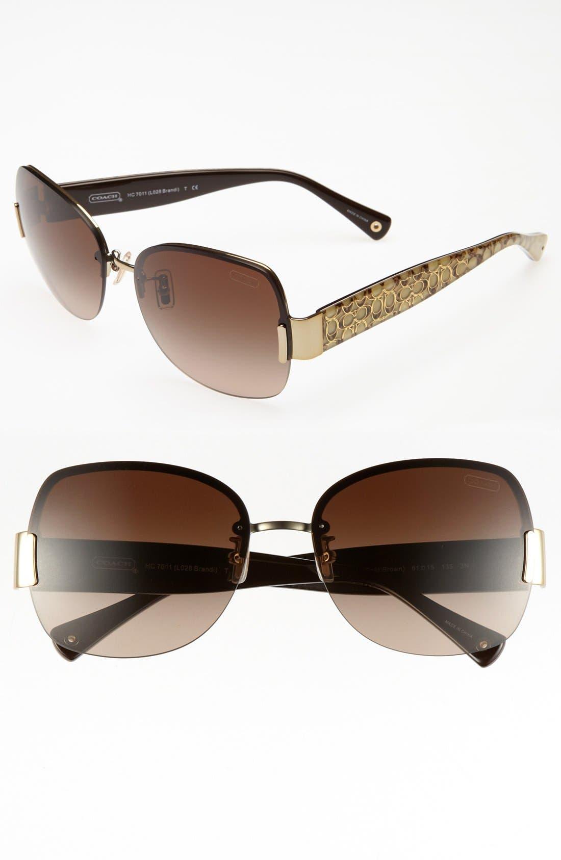 Alternate Image 1 Selected - COACH 61mm Rimless Sunglasses