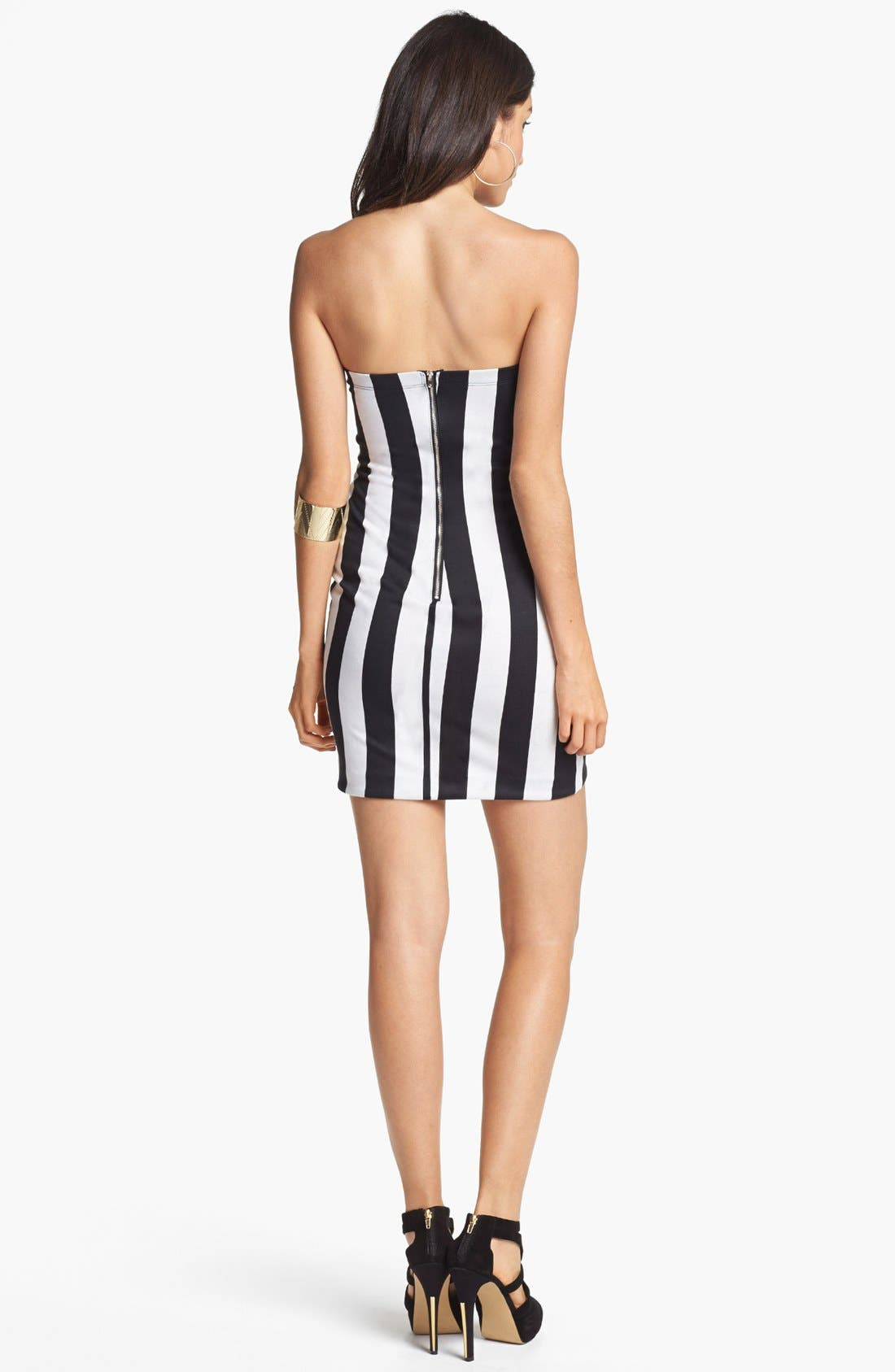 Alternate Image 2  - Lush Stripe Body-Con Dress (Juniors) (Online Only)