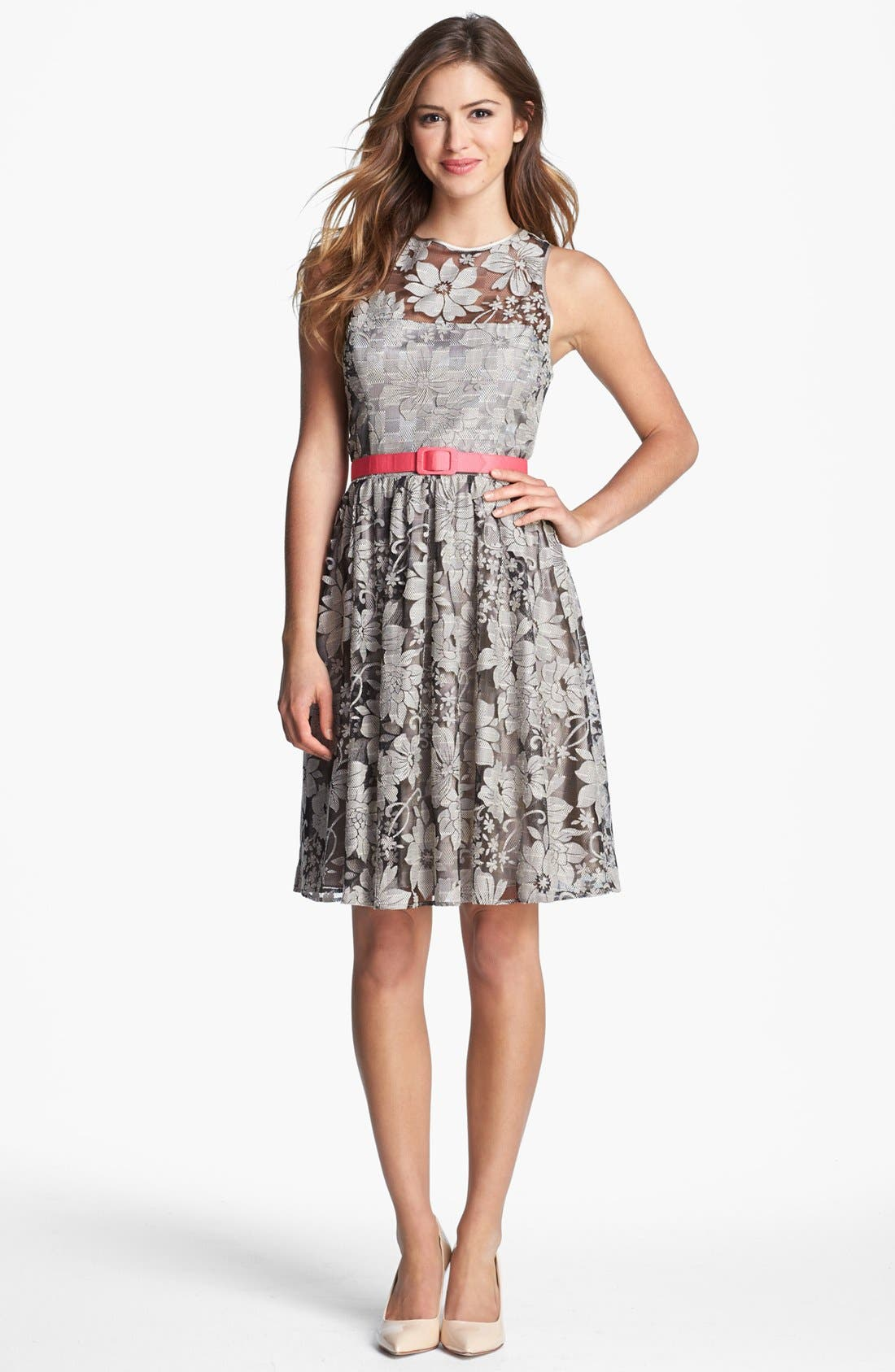 Alternate Image 1 Selected - Eliza J Textured Lace Fit & Flare Dress