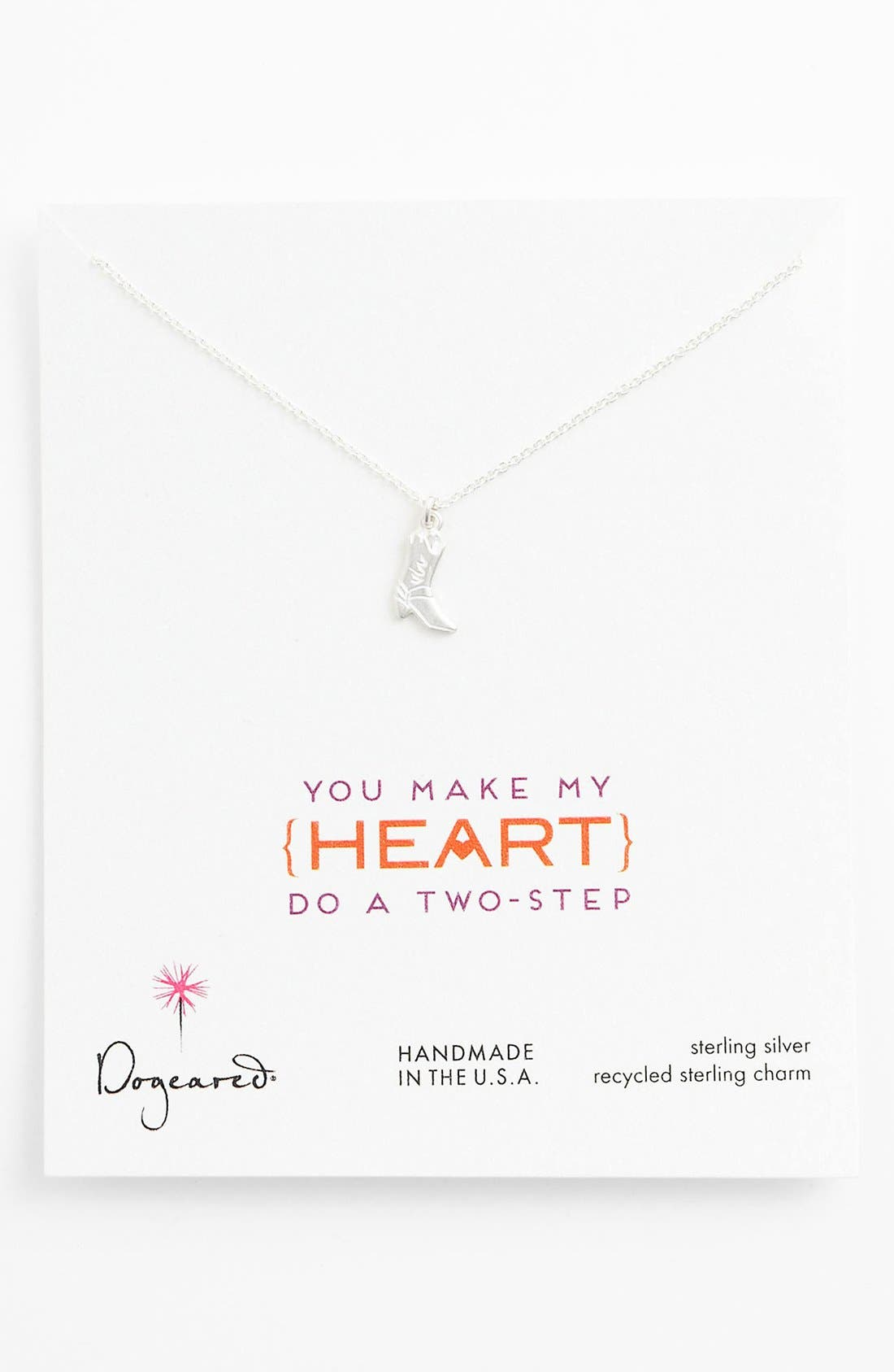 Alternate Image 1 Selected - Dogeared 'Love' Cowboy Boot Pendant Necklace