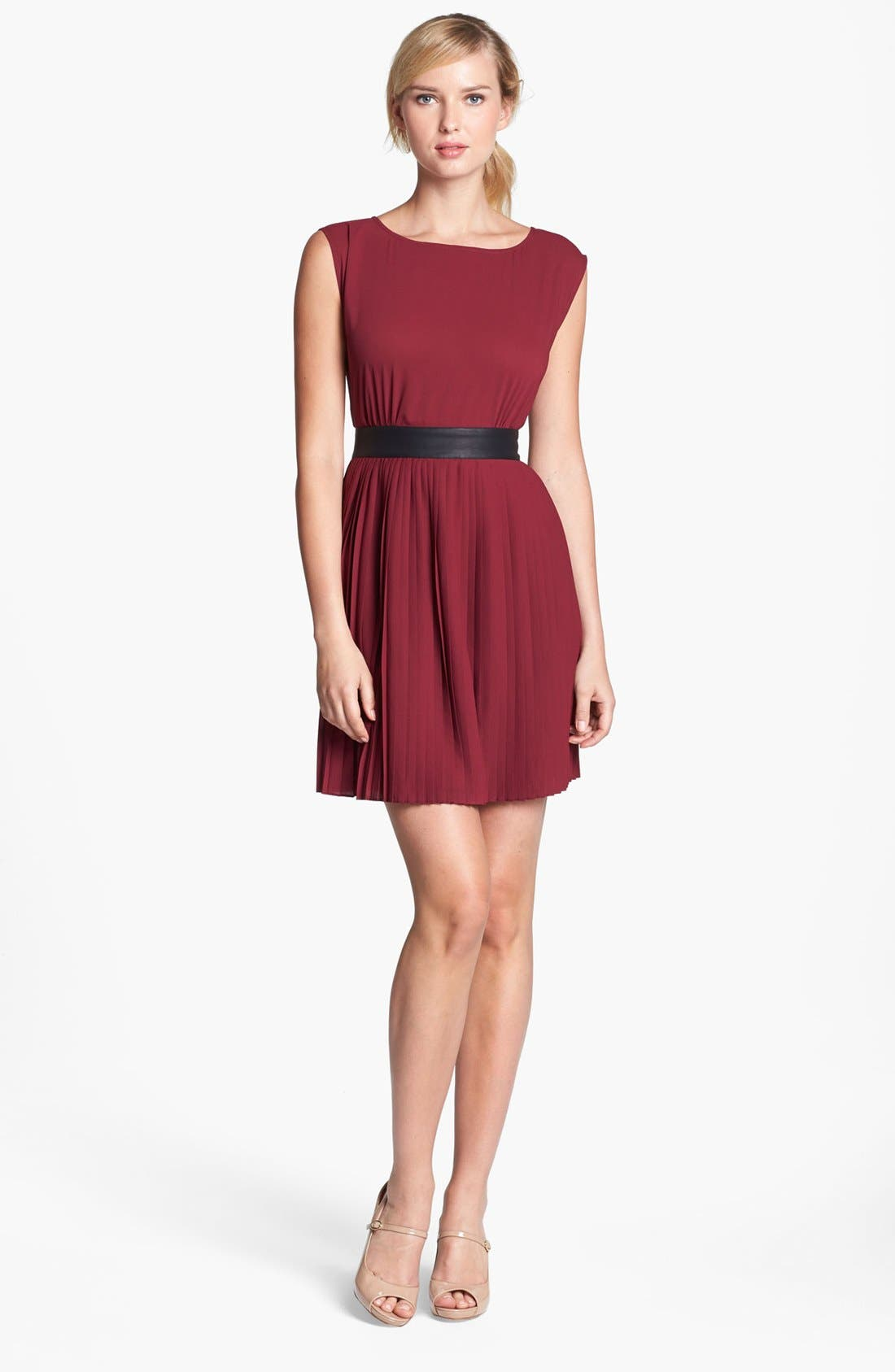 Main Image - BB Dakota Faux Leather Trim Pleated Chiffon Dress (Online Only)