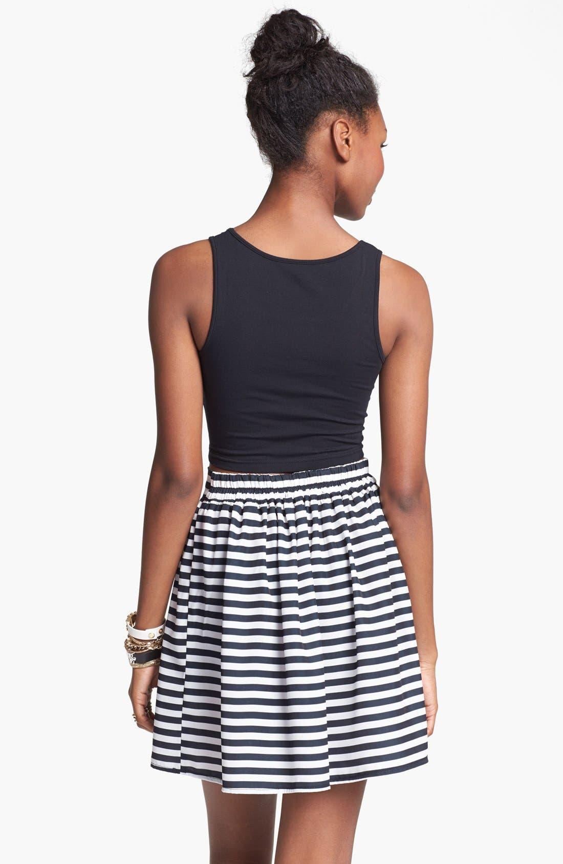 Alternate Image 2  - Living Doll Stripe Skater Skirt (Juniors) (Online Only)