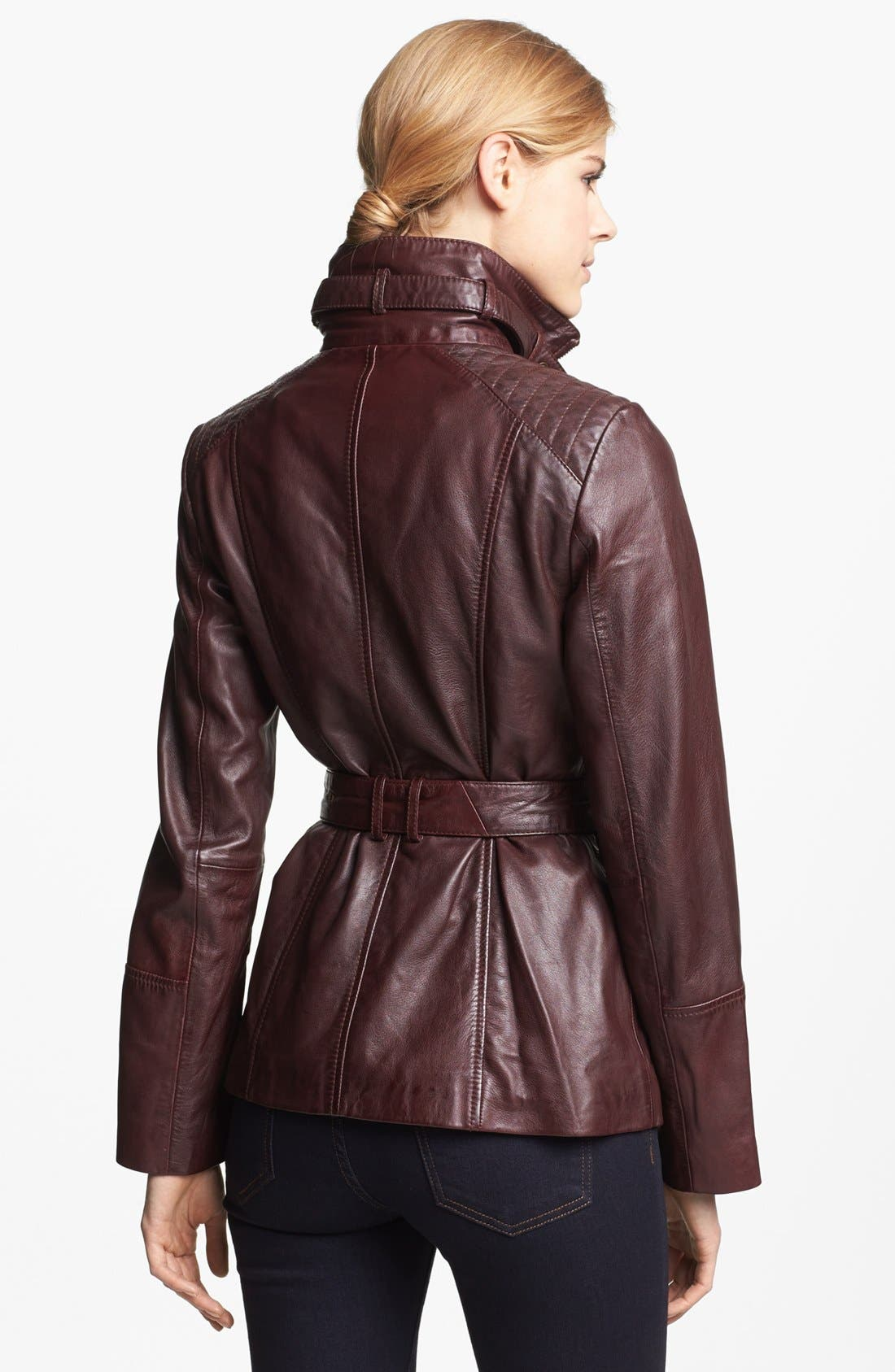Alternate Image 2  - Marc New York by Andrew Marc Belted Leather Jacket (Regular & Petite)