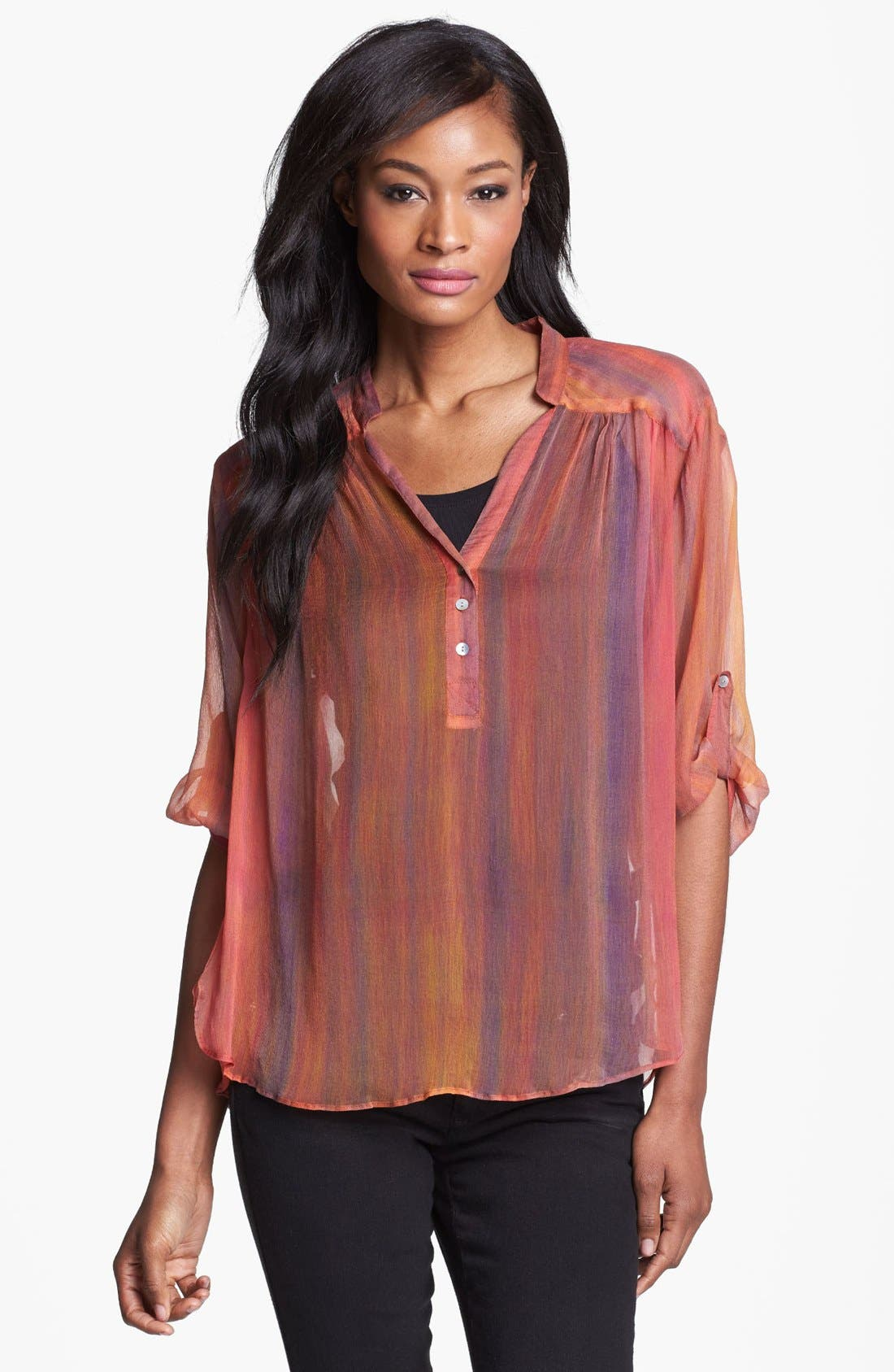 Alternate Image 1 Selected - Casual Studio Roll Sleeve Sheer Blouse