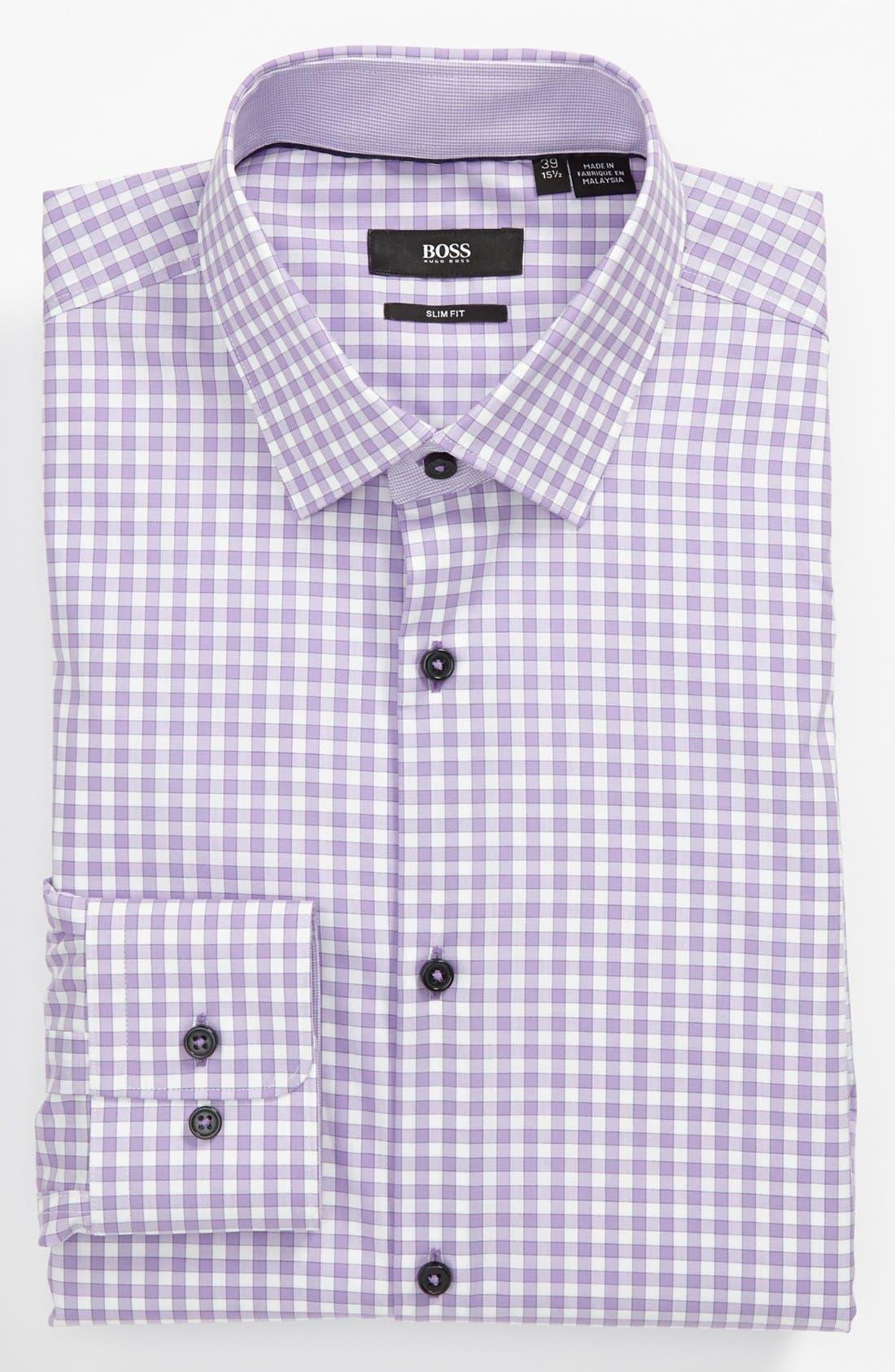 Alternate Image 1 Selected - BOSS HUGO BOSS Slim Fit Linen Blend Dress Shirt