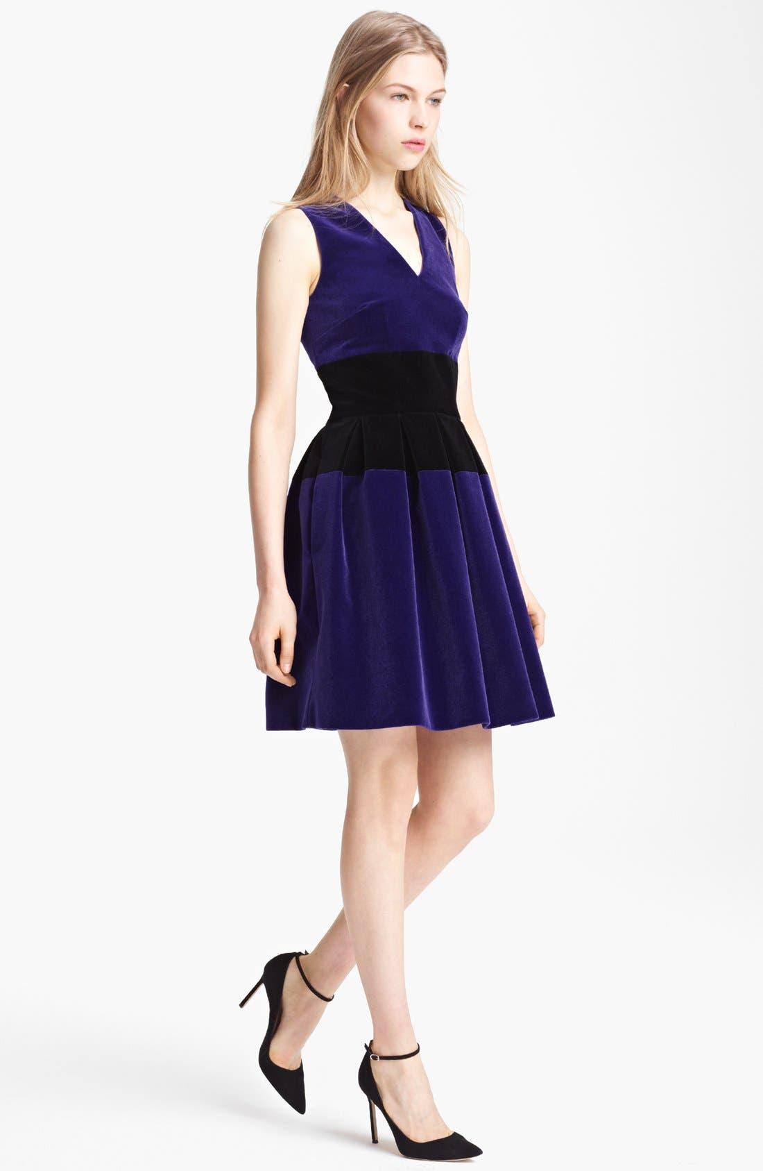 Alternate Image 1 Selected - Christopher Kane Full Skirt Bicolor Velvet Dress